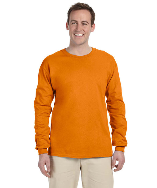 Gildan G240 Long Sleeve Ultra Cotton T-Shirt in Safety Orange Hi-Vis at Dave's New York