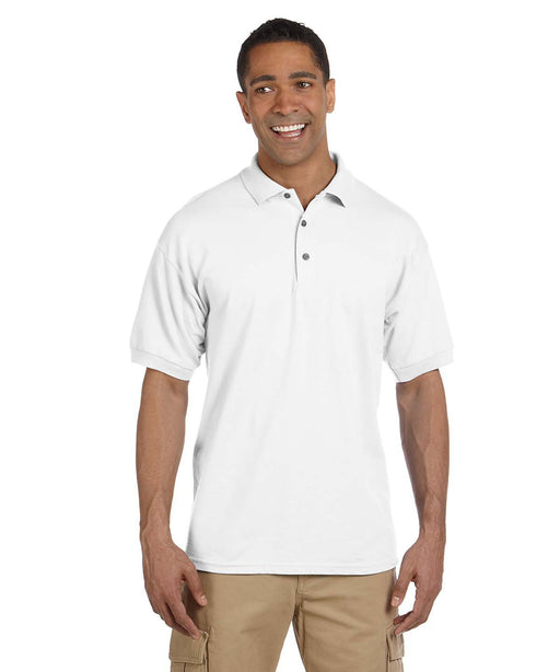 Gildan G380 Men's Ultra Cotton Pique Polo Shirts in White at Dave's New York