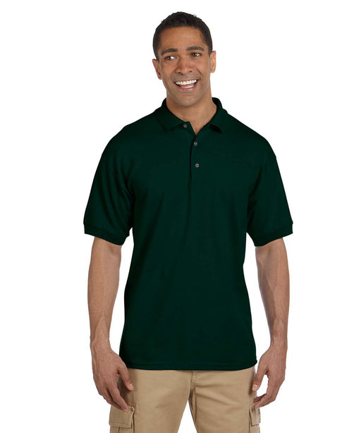 Gildan G380 Men's Ultra Cotton Pique Polo Shirts in Forest Green at Dave's New York