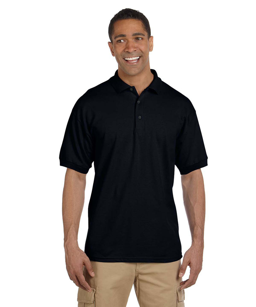 Gildan G380 Men's Ultra Cotton Pique Polo Shirts in Black at Dave's New York
