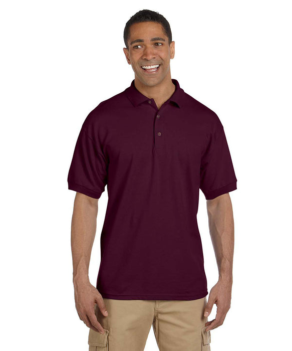 Gildan G380 Men's Ultra Cotton Pique Polo Shirts in Maroon at Dave's New York