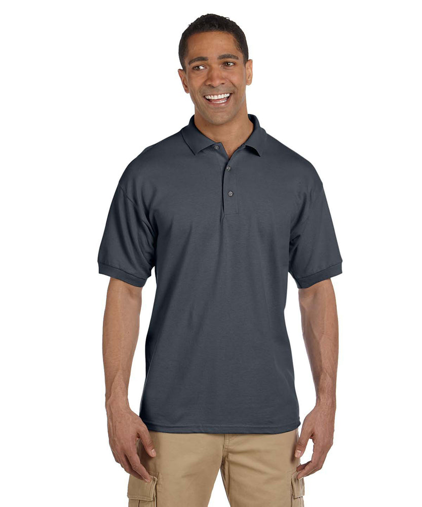 Gildan G380 Men's Ultra Cotton Pique Polo Shirts in Dark Heather Grey at Dave's New York