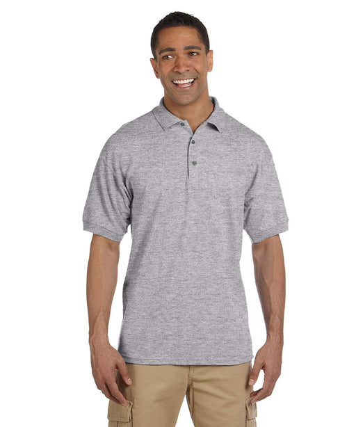 Gildan G380 Men's Ultra Cotton Pique Polo Shirts in Heather Grey at Dave's New York