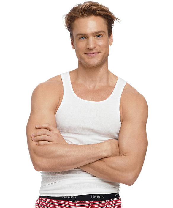 Hanes Men's Ribbed Cotton Athletic Undershirt in White at Dave's New York