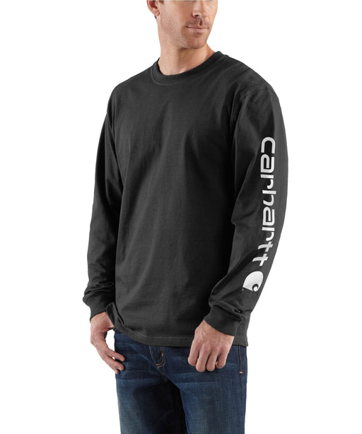 Carhartt Signature Sleeve Logo Long-Sleeve T-Shirt - Black