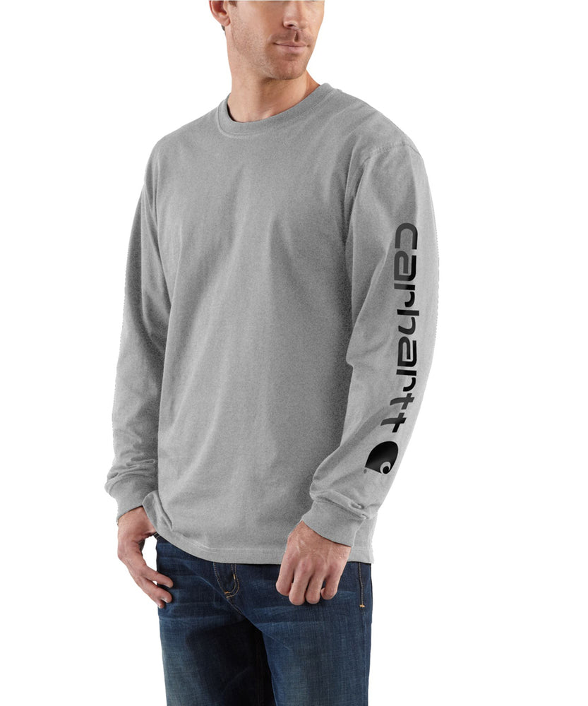 Carhartt Signature Sleeve Logo Long-Sleeve T-Shirt - Heather Grey