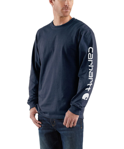 Carhartt Signature Sleeve Logo Long-Sleeve T-Shirt - Navy