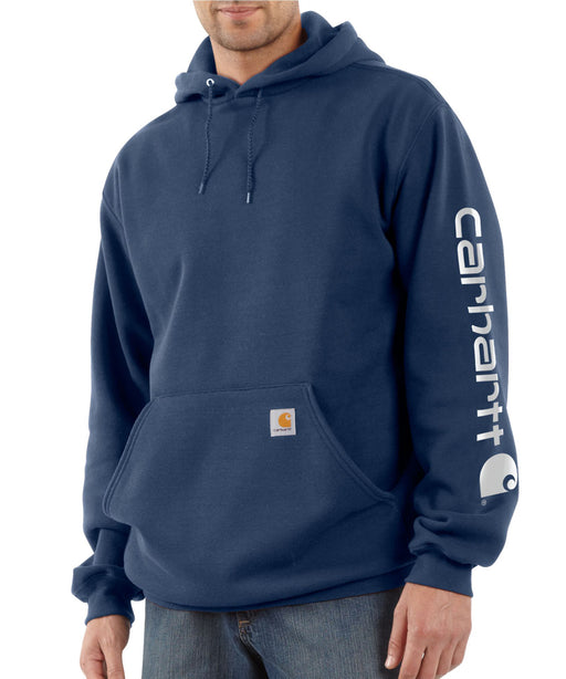 Carhartt Mid-Weight Hooded Logo Sweatshirt K288 in New Navy at Dave's New York