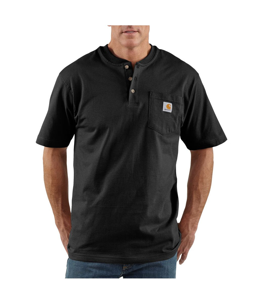 Carhartt K84 Workwear Short Sleeve Henley T-Shirt in Black at Dave's New York