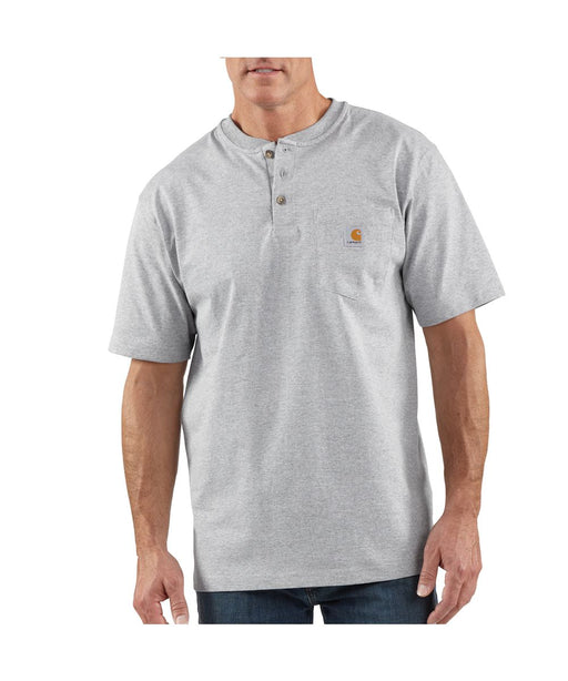 Carhartt K84 Workwear SS Henley T-Shirt - Heather Gray