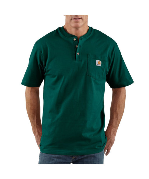 Carhartt K84 Short Sleeve Henley Workwear T-shirt in Hunter Green at Dave's New York