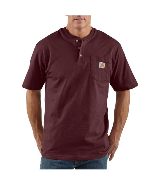 Carhartt K84 Short Sleeve Henley Workwear T-shirt in Port at Dave's New York