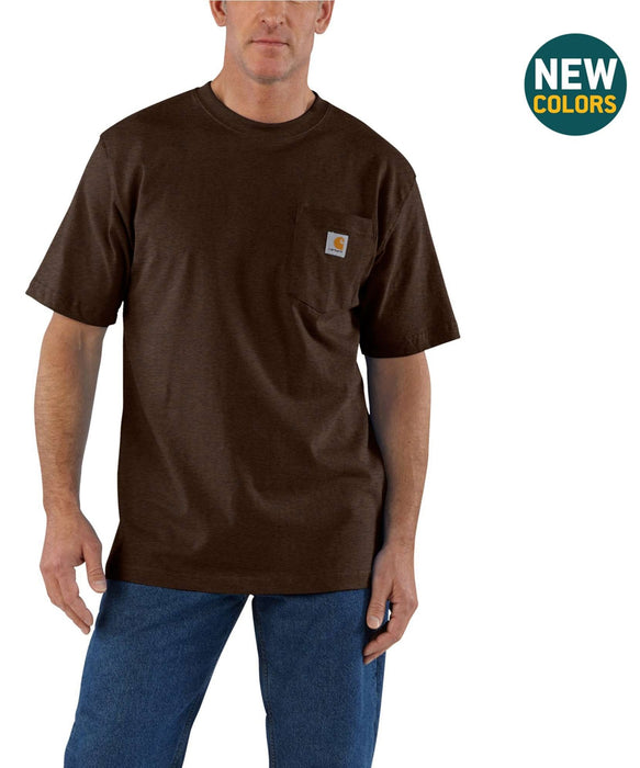 Carhartt K87 Workwear Short Sleeve Pocket T-Shirt – Dark Coffee Heather