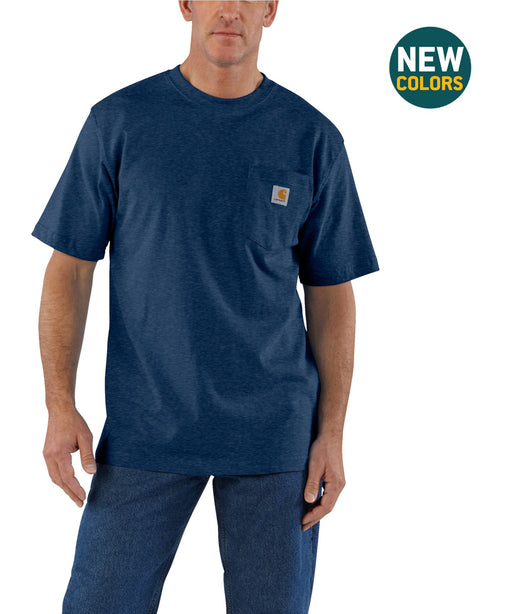 Carhartt K87 Workwear Pocket T-shirt in Dark Cobalt Blue Heather at Dave's New York