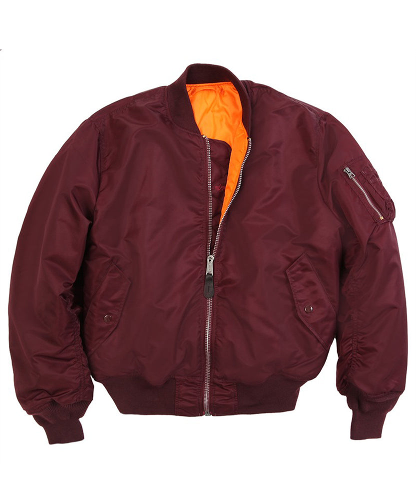 Alpha Industries MA-1 Flight Jacket in Maroon at Dave's New York
