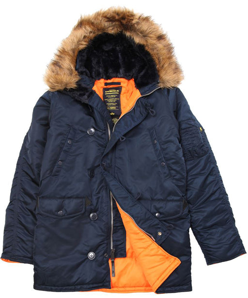Alpha Industries Slim Fit N-3B Parka in Replica Blue