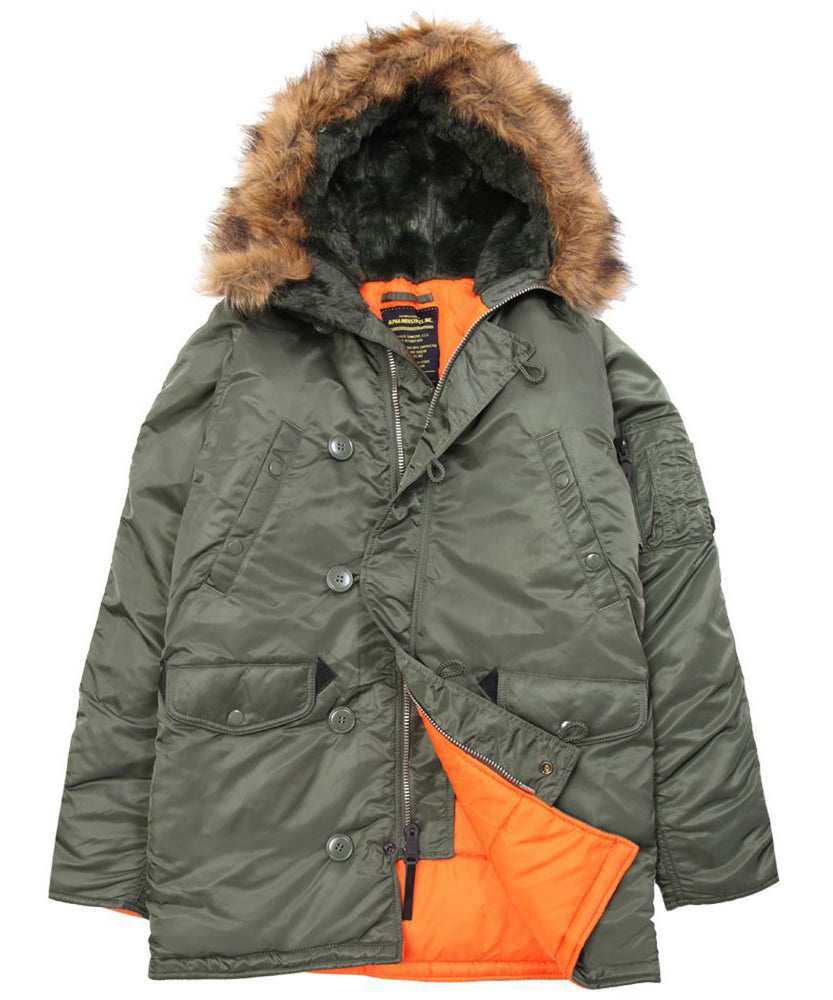 Alpha Industries SLim Fit N-3B Parka in Sage Green at Dave's New York