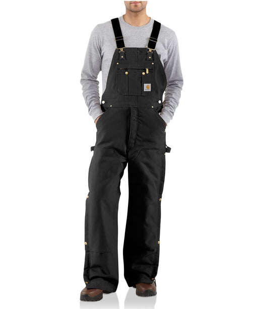 Carhartt Quilt-Lined Zip-To-Thigh Bib Overalls in Black at Dave's New York