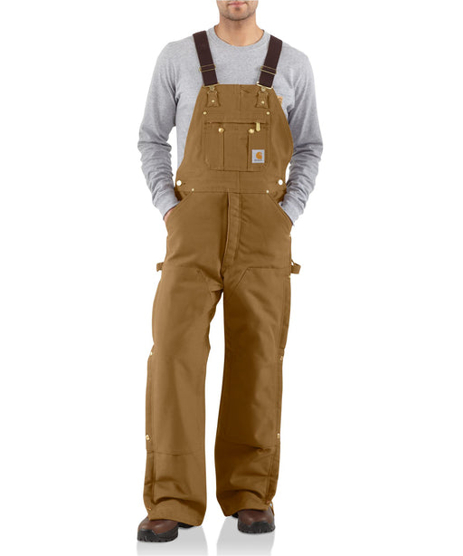 Carhartt Quilt-Lined Zip-To-Thigh Bib Overalls in Carhartt Brown at Dave's New York