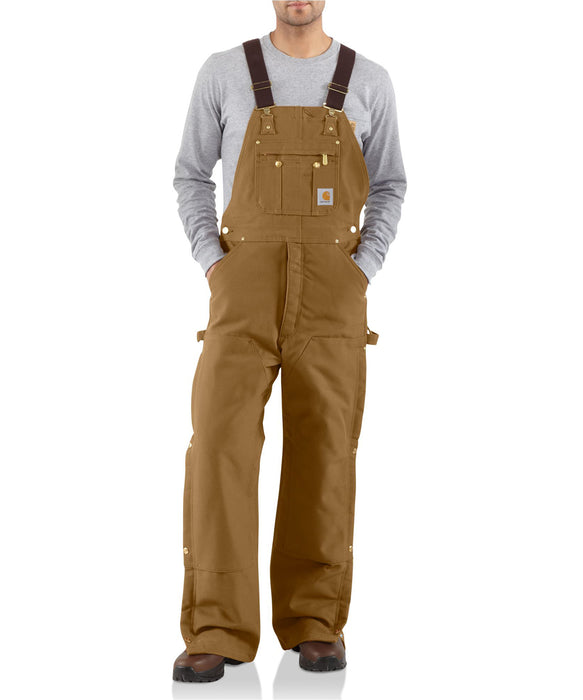 Carhartt Quilt-Lined Zip-To-Thigh Bib Overalls - Carhartt Brown