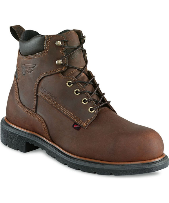 Red Wing Shoes Men's 6-inch, Waterproof, Steel Toe Work Boots (4215) in Mahogany at Dave's New York
