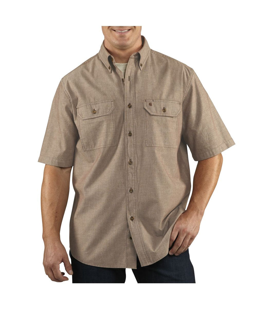 Carhartt Fort Solid Short-Sleeve Shirt in Dark Tan Chambray at Dave's New York
