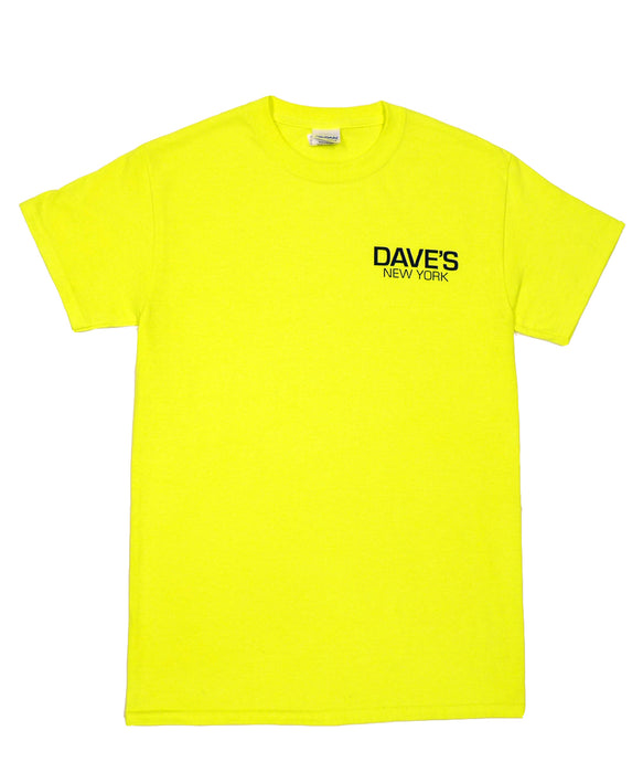 Dave's New York Work Logo Short Sleeve T-Shirt - Safety Green