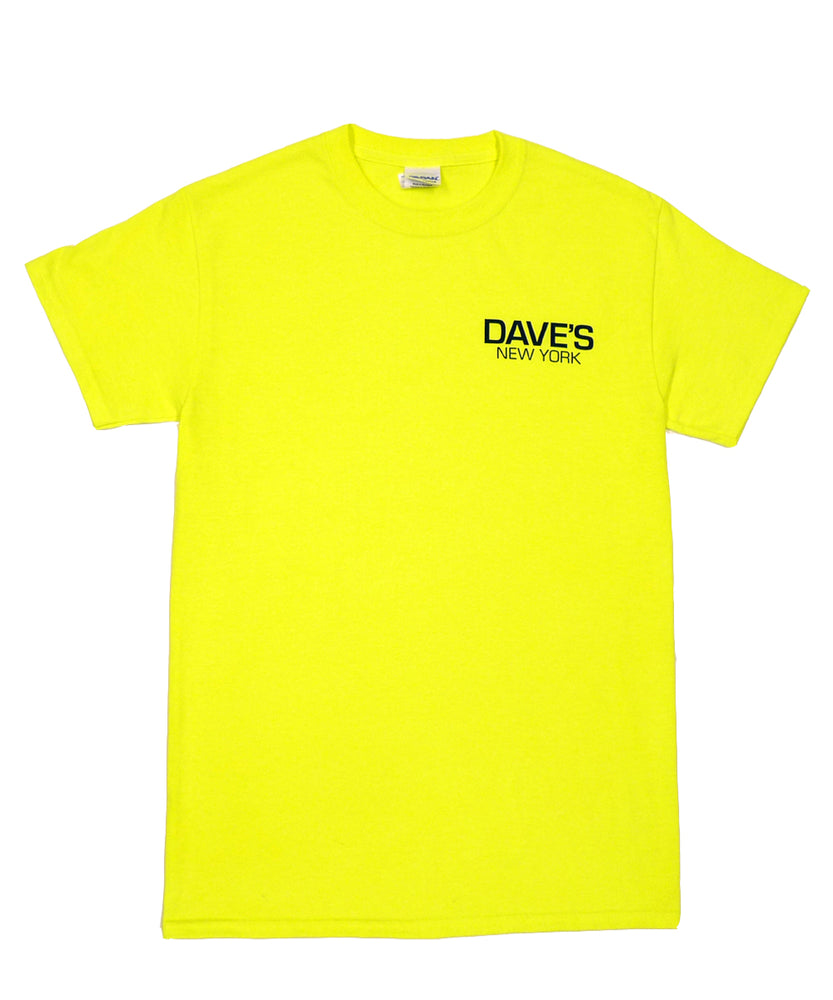 Dave's New York Work Logo Short Sleeve T-Shirt - Bright Lime