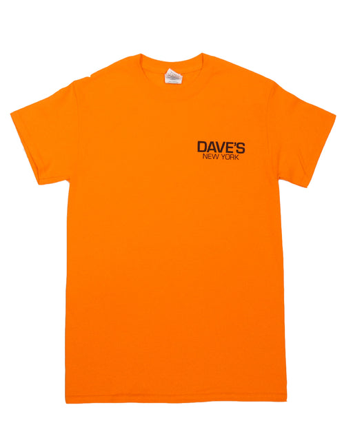 Dave's New York Work Logo Short Sleeve T-Shirt - Bright Orange