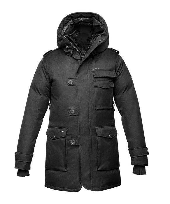 Mens Black Military Parka