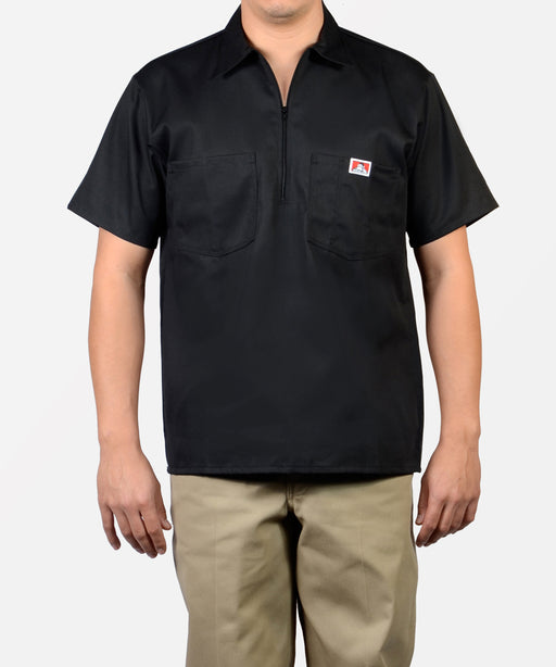 Ben Davis Short Sleeve Half-Zip Work Shirt in Black at Dave's New York