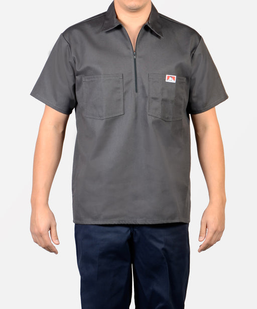 Ben Davis Short Sleeve Half-Zip Work Shirt in Charcoal at Dave's New York