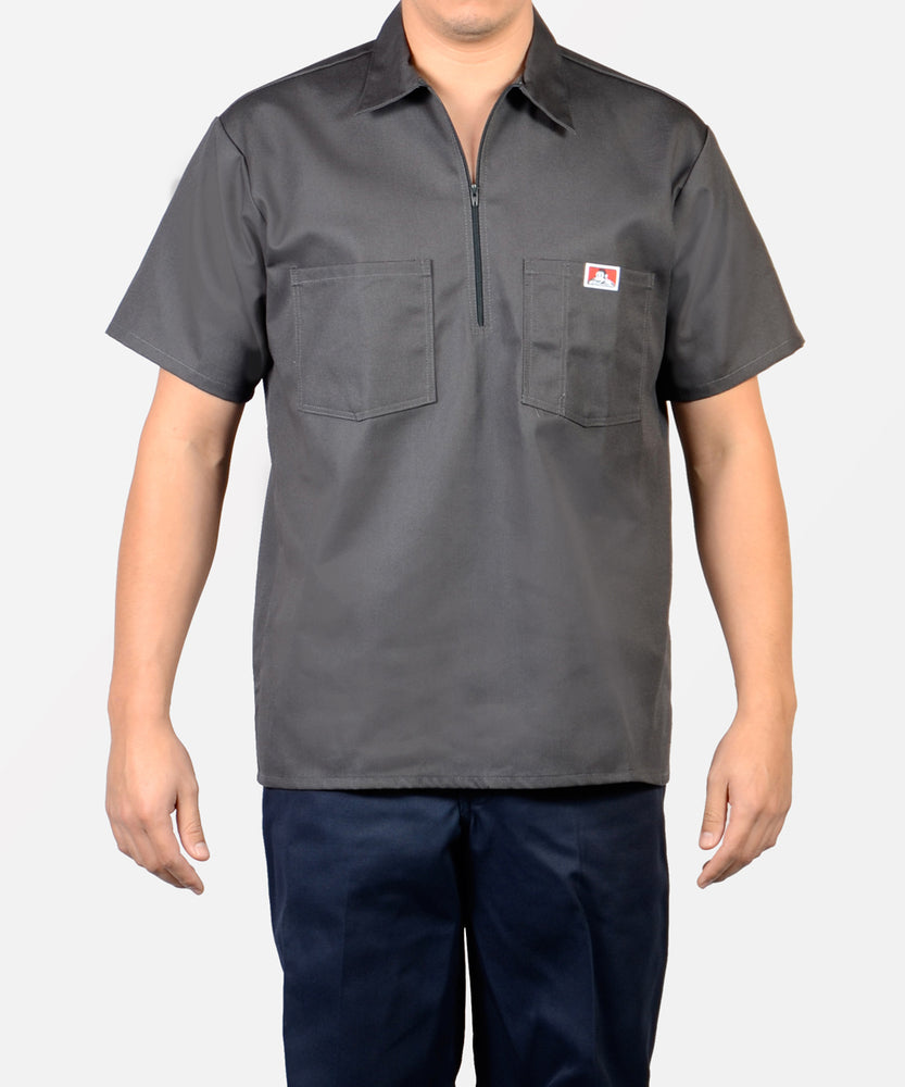 Ben Davis Short Sleeve Half-Zip Work Shirt - Charcoal