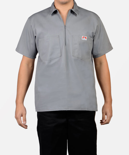 Ben Davis Short Sleeve Half-Zip Work Shirt - Light Grey