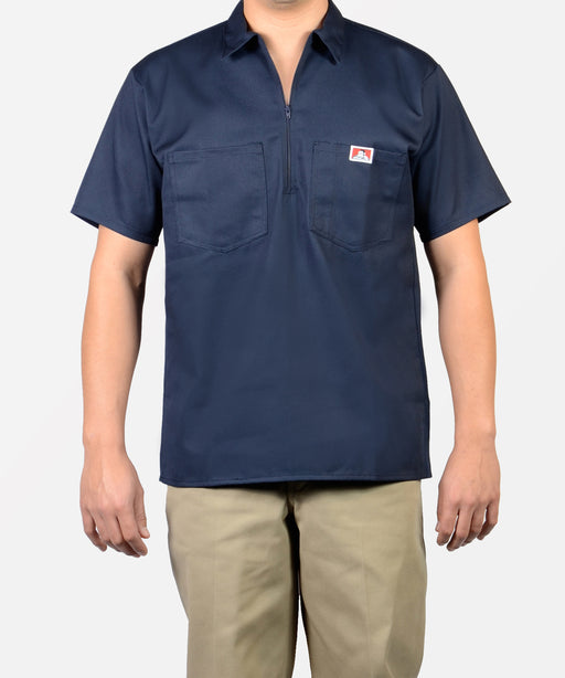 Ben Davis Short Sleeve Half-Zip Work Shirt in Navy at Dave's New York