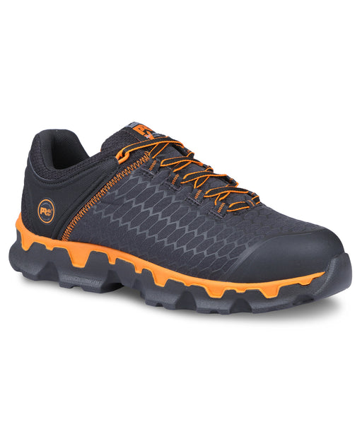 Timberland PRO Men's Powertrain Sport Alloy Safety Toe Work Sneaker – A1B6S in Black Ripstop Nylon with Orange at Dave's New York