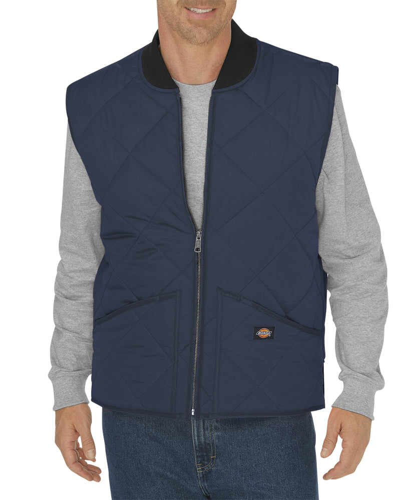 Dickies Diamond Quilted Nylon Vest in Dark Navy at Dave's New York