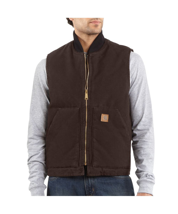 Carhartt V02 Sandstone Vest in Dark Brown at Dave's New York