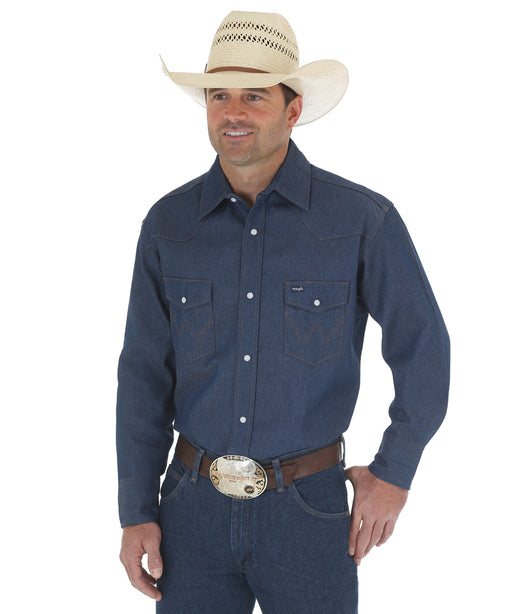 Wrangler Authentic Cowboy Cut Work Western Shirt – Rigid Blue Denim