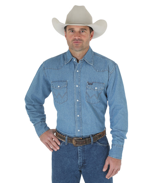 Wrangler Authentic Cowboy Cut Work Western Shirt – Stonewash Blue