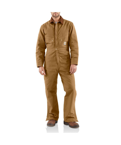 Carhartt Quilt-Lined Duck Coveralls in Carhartt Brown at Dave's New York