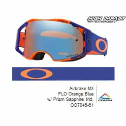 Oakley Airbrake - Flo Orange/Blue MX Goggles with Sapphire Iridium Prizm Lens
