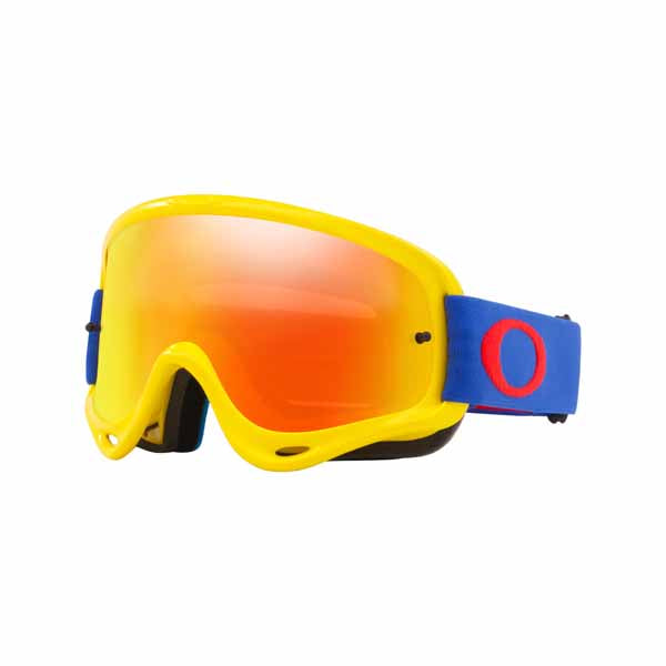 Oakley O Frame - Yellow/Blue MX Goggles with Fire Iridium & Clear Lenses