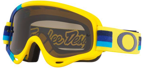 Oakley XS O Frame - TLD Pre-Mix Yellow/Blue MX Goggles with Dark Gray Lens