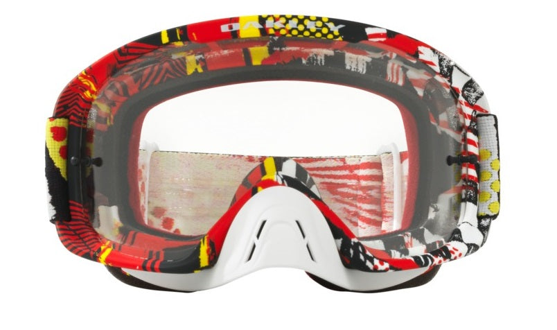 Oakley O Frame 2.0 - Mosh Pit Red/Yellow MX Goggles with Clear Lens