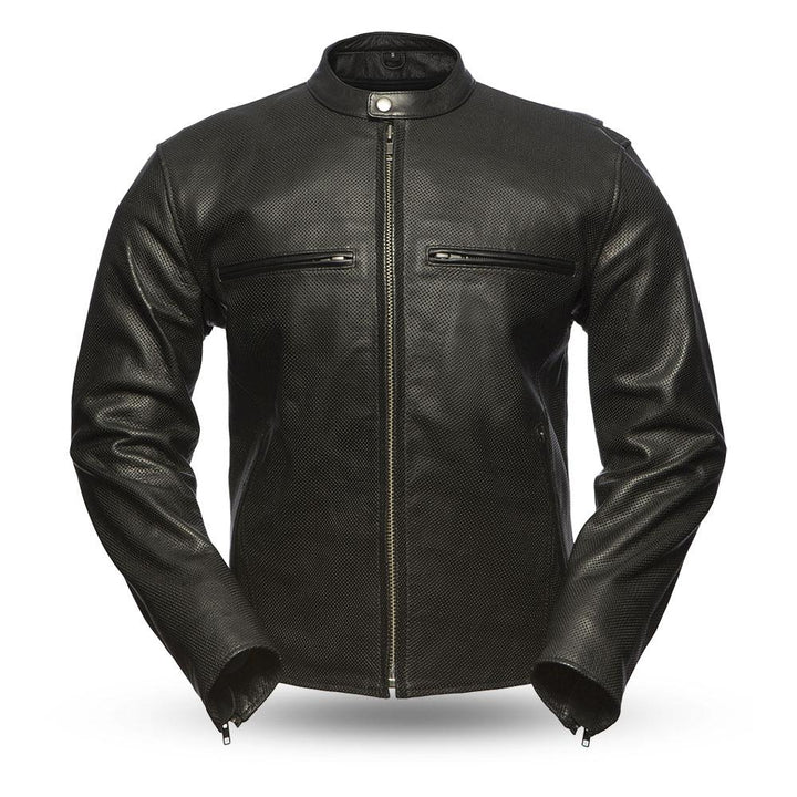 First Manufacturing Turbine - Perforated Men's Leather Jacket