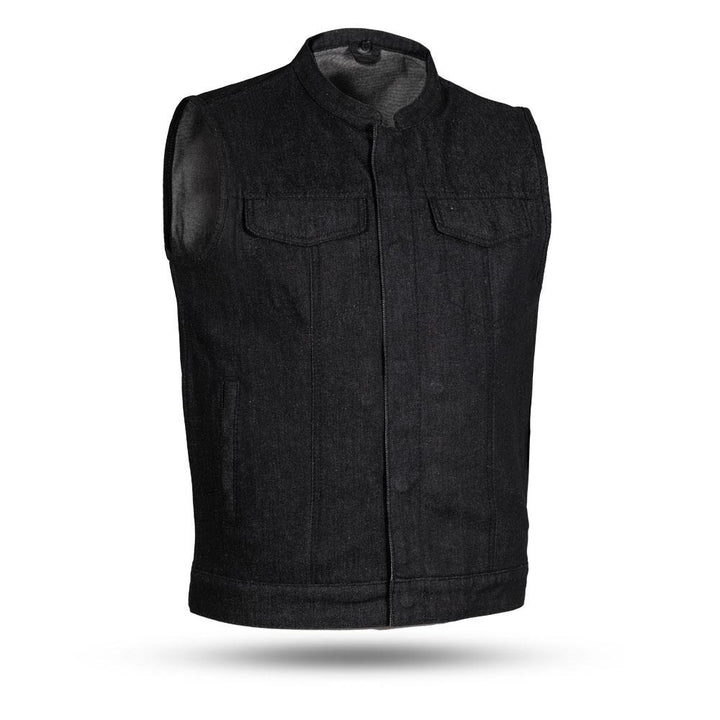 First Manufacturing Kershaw - Men's Denim Motorcycle Vest - Black