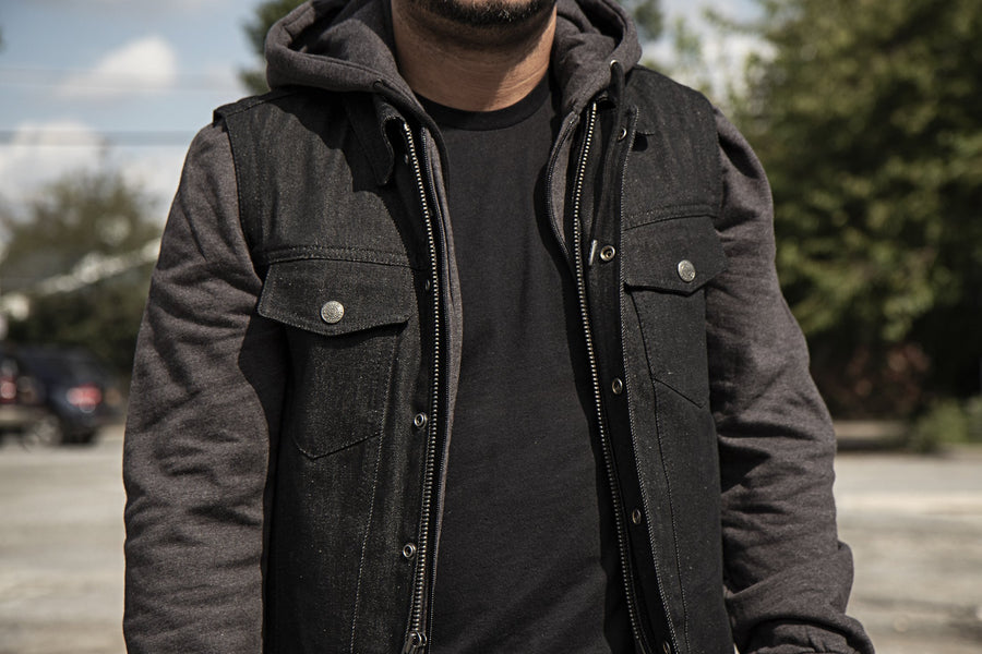 First Manufacturing Rook - Men's Motorcycle Denim Vest with Gray/Black Base Hoodie