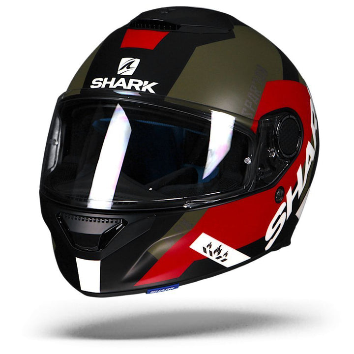 Shark Spartan Apics Matte Black Red Green KRG Full Face Motorcycle Helmet