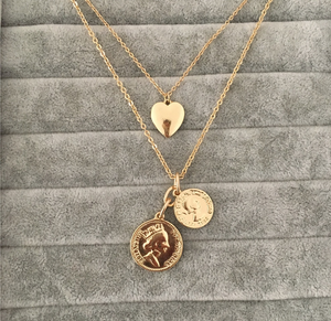 GOLD COLOR TWO COIN MEDALLION HEART PENDANT LAYERED NECKLACE